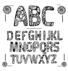 Zentangle Alphabet Black vector image vector image