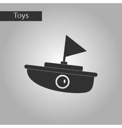 Black and white style toy boat vector