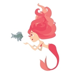 Mermaid Feeding and Talking with Fish vector image