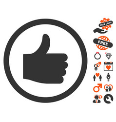 Thumb up icon with dating bonus vector