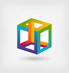 Impossible cube multicolor abstract symbol vector