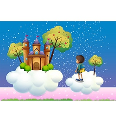 A boy and a castle above the clouds vector