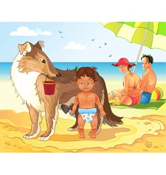Family Beach Vacations vector image