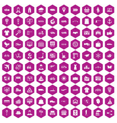 100 logistic and delivery icons hexagon violet vector image