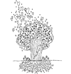 Black and white tree of love vector image