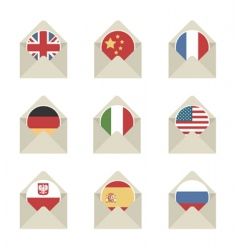 Mail flag icons vector