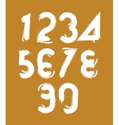 Calligraphic brush numbers hand-painted white vector