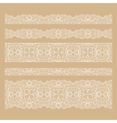 Set of seamless lace borders with transparent vector image