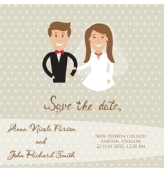 Wedding card with newly wed couple save the date vector