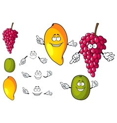 Cartoon mango grape and kiwi fruits vector