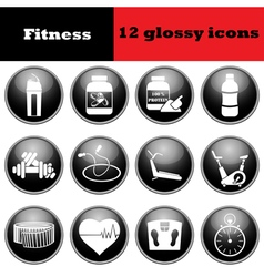 Set of fitness glossy icons vector