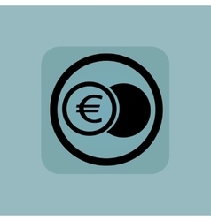 Pale blue euro coin sign vector