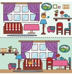 Flat style furniture living and dining room vector