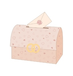 Wedding chest with an envelope vector