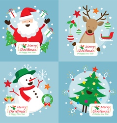 Christmas characters with decoration set vector