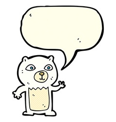 Cartoon waving polar bear cub with speech bubble vector