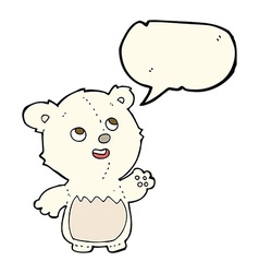 Cartoon happy little teddy polar bear with speech vector