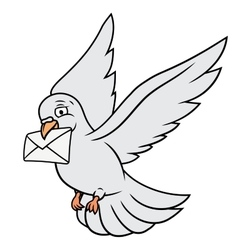 White pigeon is carrying letter vector