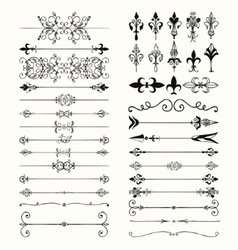 Black hand drawn dividers arrows swirls vector