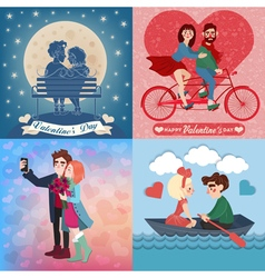 Valentines day cards set with young happy couple vector