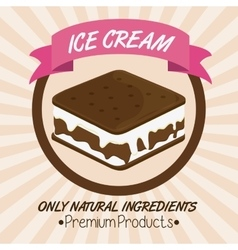 Vintage ice cream over seal stamp dessert design vector