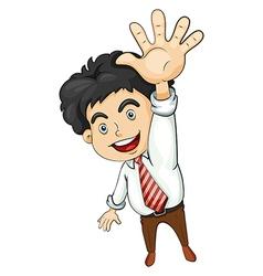 A businessman waving vector image