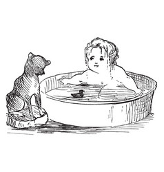 Baby and dog are swimming in this picture vintage vector