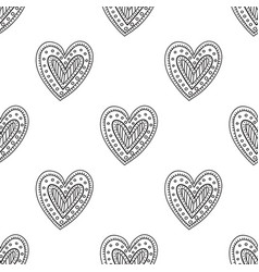 Black boho ornamental hearts seamless pattern vector