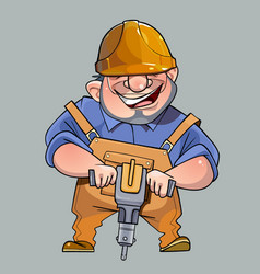 Cartoon happy man in helmet and working vector