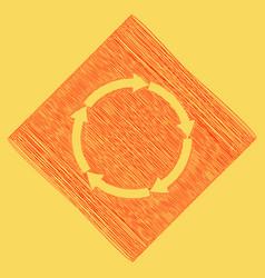 Circular arrows sign red scribble icon vector