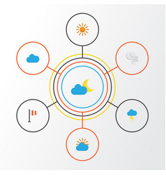 Climate flat icons set collection of storm vector