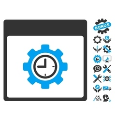 Clock configuration gear calendar page icon vector