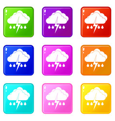 Cloud with lightning and rain icons 9 set vector