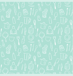 Cooking tools seamless pattern background set vector