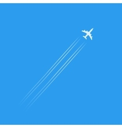 Flying plane silhouette isolated in blue sky with vector