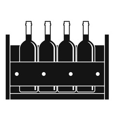 Four bottles of wine in a wooden box icon vector
