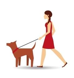 girl walking a brown dog vector image vector image
