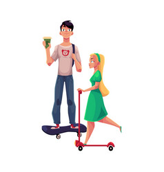 girl woman riding push scooter and boy man on vector image