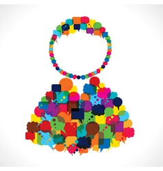 group of message bubble make user shape vector image