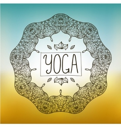 hand drawn ornamental yoga badge vector image vector image