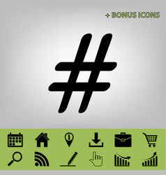 hashtag sign black icon at vector image vector image