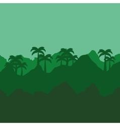 Jungle tropical landscape icon vector