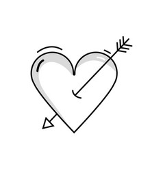 line beauty romantic heart with arrow design vector image vector image