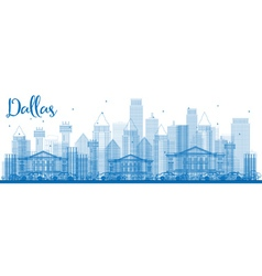 Outline dallas skyline with blue buildings vector