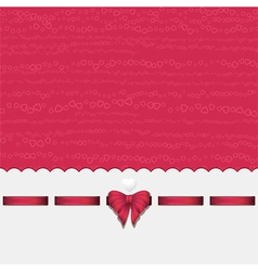 pink heart background with ribbon pink vector image vector image