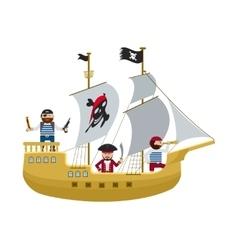 Pirate ship with pirates cartoon flat vector image