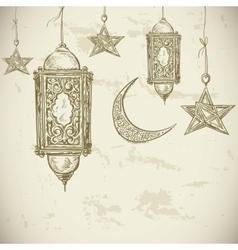 Ramadan kareem hand drawn vector