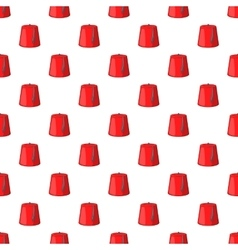 Red turkish hat fez pattern cartoon style vector