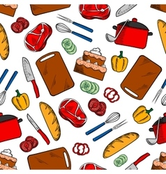 Seamless cooking dinner sketched pattern vector image