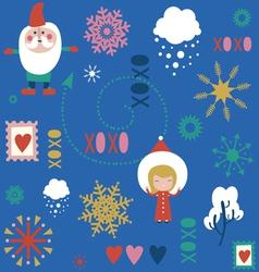 Seamless festive pattern with santa vector